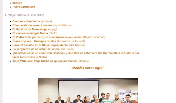 ¡Candidato en los Premios Verema 2013!